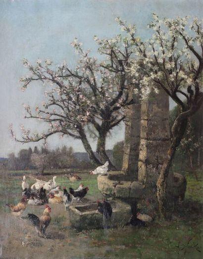 Alexandre DEFAUX  (1826-1900) Basse cour...