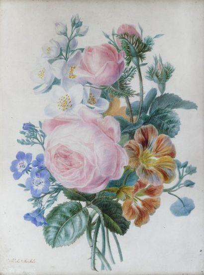 ADÈLE RICHE (1791 - 1878)  Bouquet de fleurs...