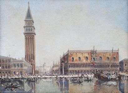 Fernand PELEZ (1843-1913)  Vue de la Piazzetta...