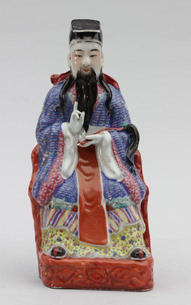 Statuette de dignitaire assis avec un ruyi.CHINE...