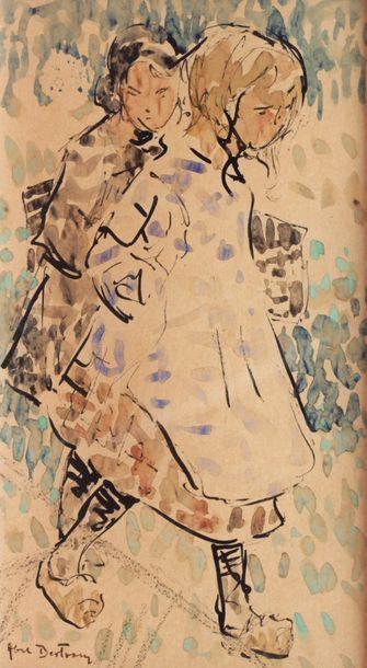 Abel BERTRAM (1871-1954)  Deux fillettes...