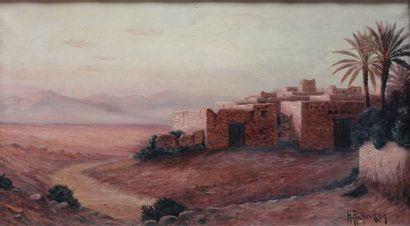 Henri RICHEVILLAIN (XIX-XX)  Vue de village...