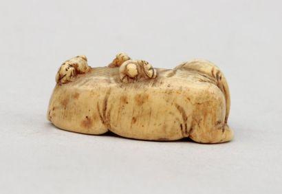 NETSUKE en ivoire représentant un éléphant couché dont s' occupe cinq hommes , signé...