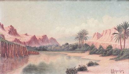 Henri RICHEVILLAIN (XIX-XX)  Vue d'une oasis...