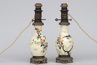 Paire de vases montés sur bronze doré le...
