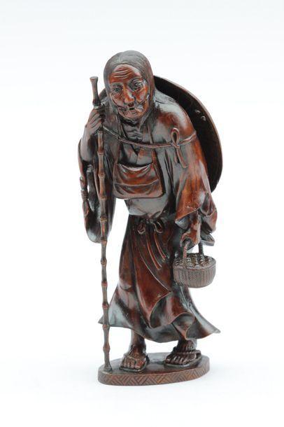 OKIMONO en bois (buis) représentant Ono No...
