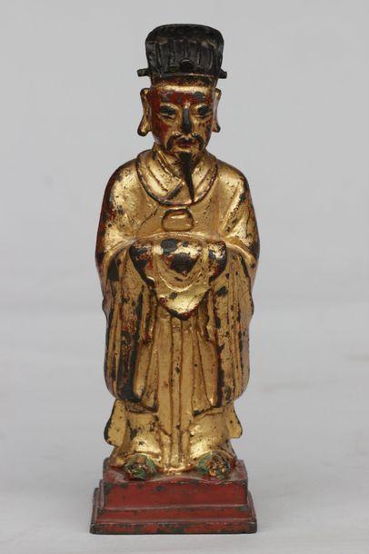Statuette de sage en métal patiné doré et...