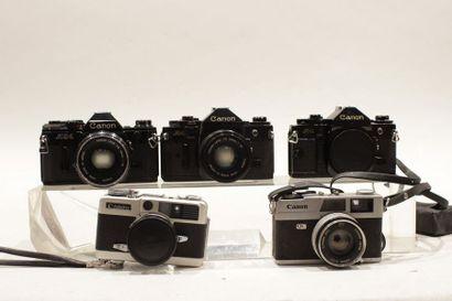CANON. Ensemble de cinq appareils. Boitier Canon demi EE17 n°282844. Boitier Canon...