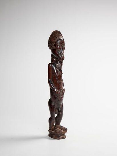 BAOULE, Côte d'Ivoire  Statue masculine en...