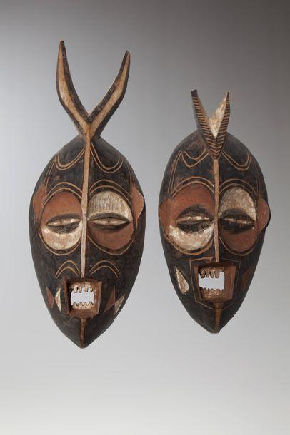 BEMBE, République Démocratiue du Congo  Cette paire de masques (couples?) polychrome...