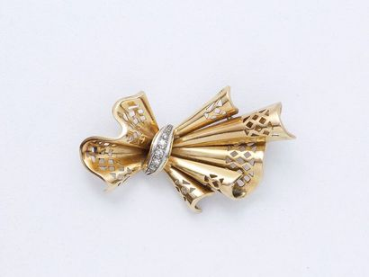 Broche en or 750 et platine 850 millièmes,...