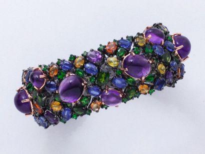 Bracelet souple en argent 800 millièmes noirci,...