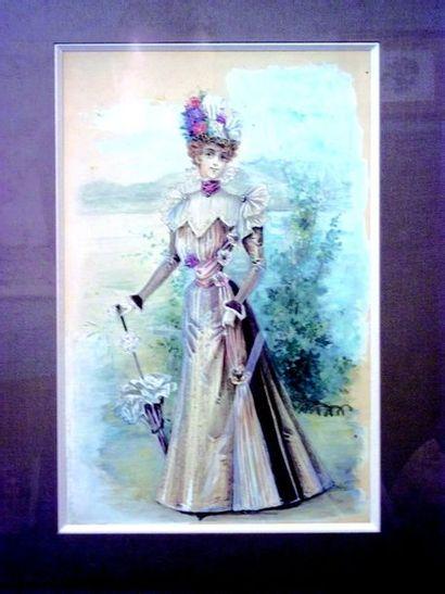 Aquarelle en couleurs représentant une femme...