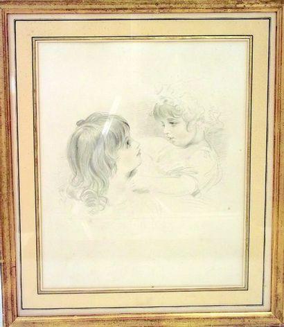 """-""""Deux petites filles"""" dessin au crayon avec..."""