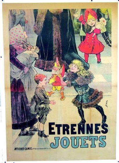 Belle et grande affiche pour étrennes, polychrome,...