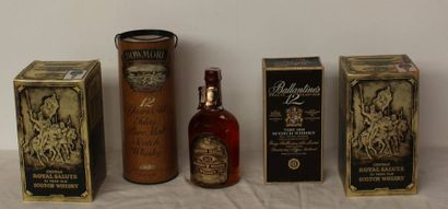 5 bout WHISKYES : 2 bts CHIVAS ROYAL SALUTE,...