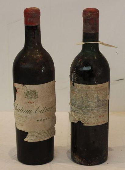 2 bout 1 CHT COS D'ESTOURNEL 1956 (deb ep, étiq tachée), 1 CHT CITRAN 1924 (gros...