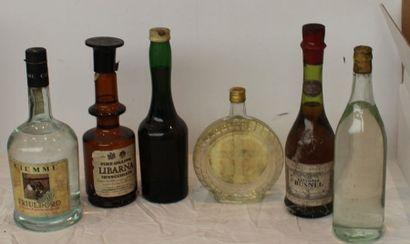 5 flac ALCOOLS : EAU DE VIE PRUNE, 1 VIEUX...