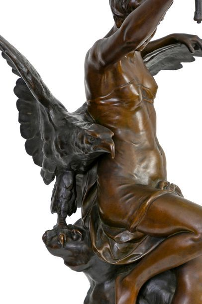Émile PICAULT (1833-1922) Genius and Light Great allegorical bronze with brown patina...
