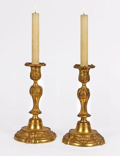 Paire de chandeliers de style Louis XV en...