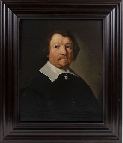 Dutch school (Haarlem) ca. 1660 Portrait of a gentleman with a white collar Oil...