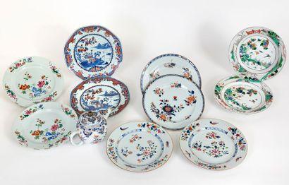 Chine, XVIIIe siècle Cinq paires d'assiettes...