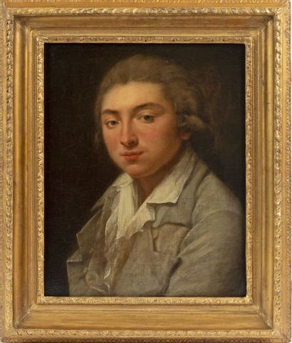 Attributed to Jeanne-Philiberte LEDOUX (1767-1840) Portrait of a young man Oil on...