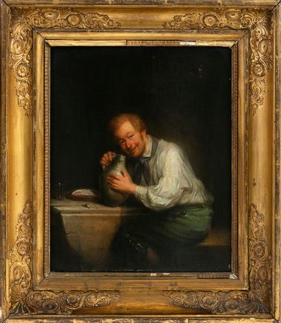 Franciscus MELZER (1808-?) The Good Drinker Oil on mahogany panel Signed lower right...