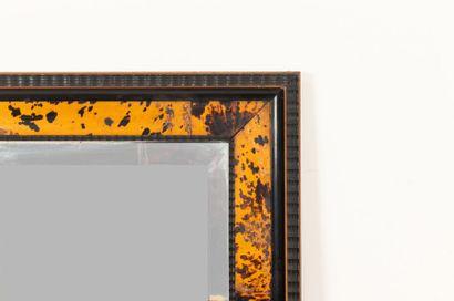 In the taste of Maison Franck (Antwerp) Large rectangular mirror in blackened wood...