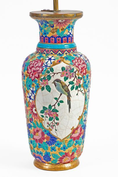 Large Longwy polychrome enamelled earthenware vase decorated with a bird on a branch...