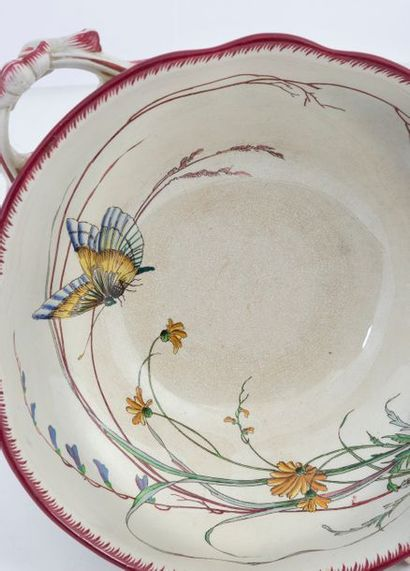 "Large dinner service in polychrome Sarreguemines earthenware, model ""Papillon"" comprising:..."