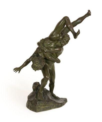 Jef LAMBEAUX (1852-1908) Les lutteurs Bronze...