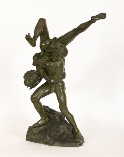 Jef LAMBEAUX (1852-1908) Les lutteurs Bronze with green patina Signed and dated...