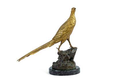 Léon BUREAU (1866-1906) Poule faisanne Bronze...