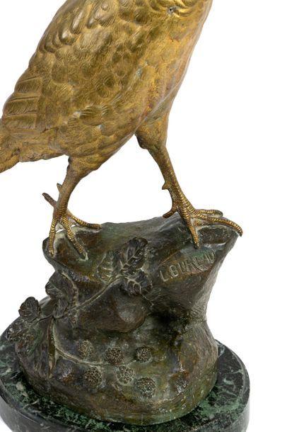 Léon BUREAU (1866-1906) Bronze pheasant hen with golden and brown patina Signed...