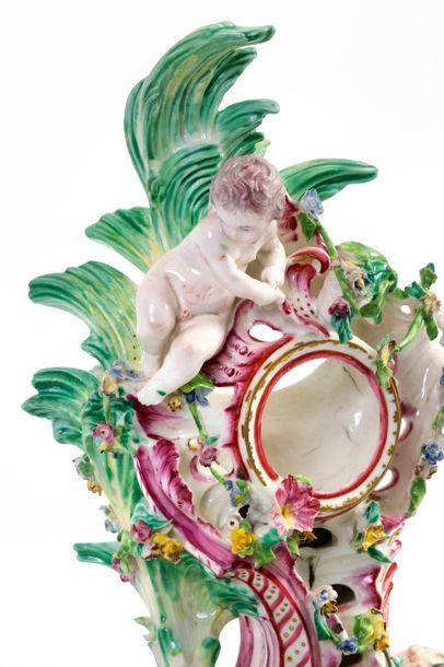 Important Louis XV style watch case in polychrome porcelain from Tournai richly...