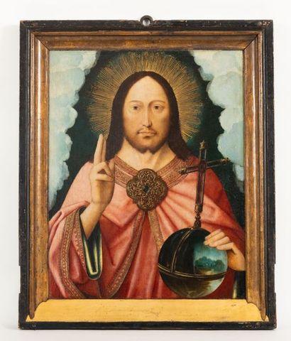 Master of La Madeleine Mansi (1490-1530) Salvator Mundi Oil on oak panel (unreadable...