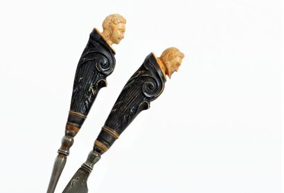 Pair of Renaissance style travel cutlery with leather and copper case Carved and...