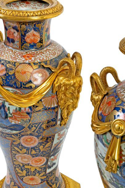 Pair of large baluster vases in polychrome Imari porcelain decorated with lake landscapes...