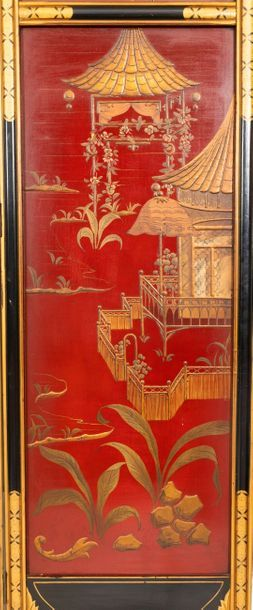 Four-leaf black and gold lacquered wooden screen decorated with an animated lakescape...