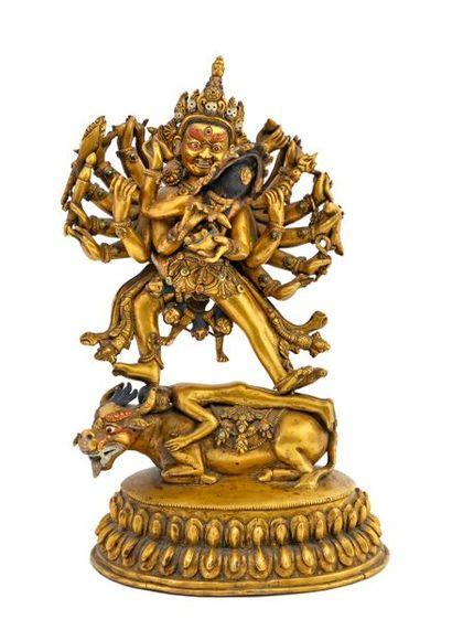 Tibet, XIXe siècle Grande statue en bronze...
