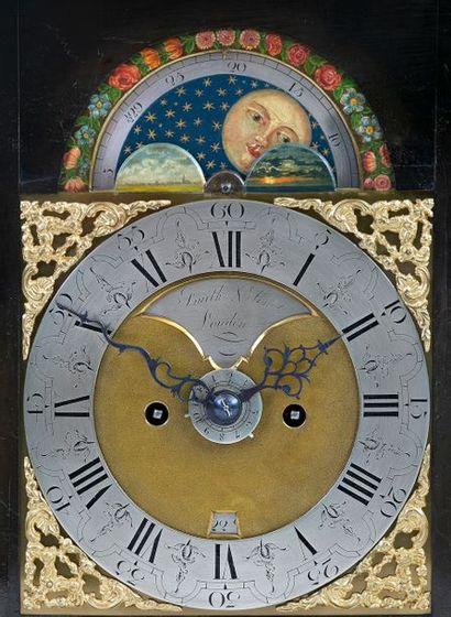 Pendule Religieuse en chêne noirci et bronze ciselé et doré Mouvement avec calendrier...