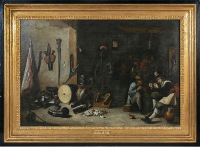 Follower of David II TENIERS (1610-1690) The Young Guard Corps Oil on canvas mounted...