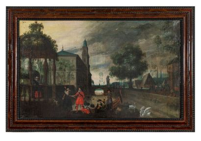 Follower of Sebastiaen VRANCX (1573-1647) Chivalrous scene in the moat of the castle...