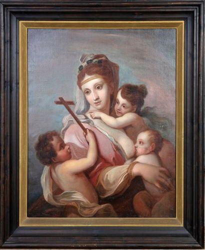 Suiveur d'Élisabeth SIRANI (Bologne, 1638-1665) Charité ou Madone à l'Enfant avec...