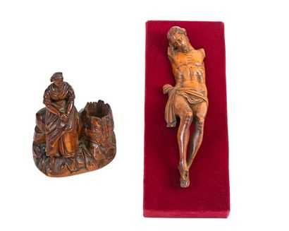 Christ on the cross Carved boxwood Flemish work, 17th century H: 19 cm (missing...