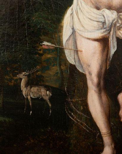 Suiveur de Jan VAN SCOREL (1495-1562) Le martyre de Saint Sébastien Huile sur panneau...