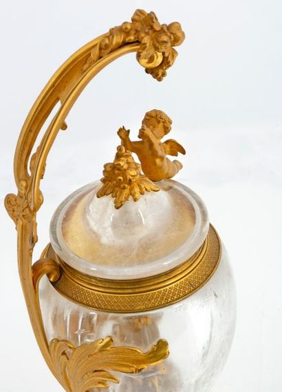 One-handled vase and its lid of Louis XV inspiration in cut rock crystal, chased...