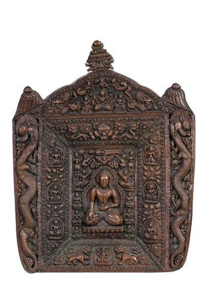 Tibet, XIXe siècle Bas-relief en cuivre repoussé...
