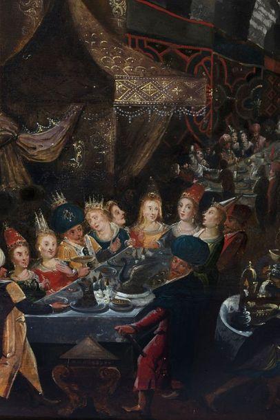 Atelier de Frans FRANCKEN II (Anvers, 1581-1642) Le festin de Balthazar (Livre de...